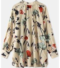 bottone manica a sbuffo stampa fiori plus camicetta casual taglia