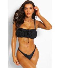 geplooide strapless bikini top met grotere cupmaat, zwart