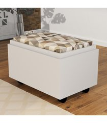 mesa de centro puff baú pu2053 branco - tecno mobili