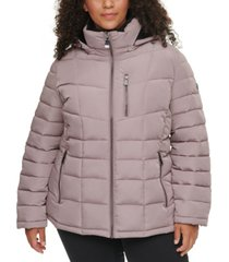 calvin klein plus size hooded faux-fur-trim puffer coat, created for macy's