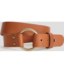 reiss carrie - leather strap belt in tan, womens, size l