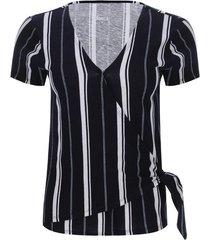 camiseta a rayas verticales color azul, talla 6