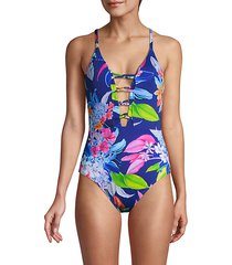 botanical-print 1-piece swimsuit