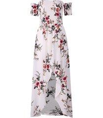 vestito maxi dalla manica corta del fiocco della spalla di stampa floreale della spalla per le donne