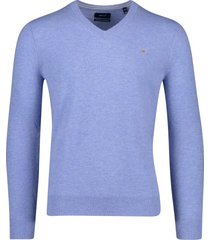 gant pullover v-hals lake blue melange