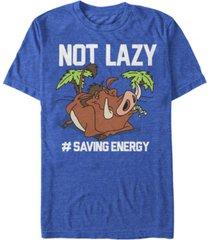 disney men's lion king pumbaa not lazy short sleeve t-shirt