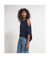 blusa manga curta ampla com abertura no ombro | marfinno | azul | p