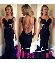 sexy new mermaid spaghetti strap backless black satin prom dress evening gowns