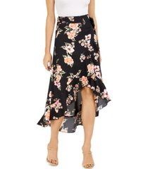 bar iii floral-print wrap skirt, created for macy's
