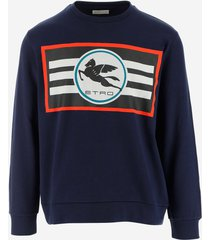 etro designer sweatshirts, blue cotton jersey men's sweatshirt