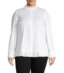 jxb janie bryant women's plus pleated cotton-blend top - crisp white - size 16