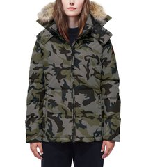 women's canada goose 'chelsea' slim fit down parka with genuine coyote fur trim, size x-large (16-18) - grey