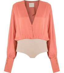 framed charlotte relaxed fit bodysuit - orange