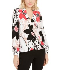 alfani petite printed piped surplice top, created for macy's