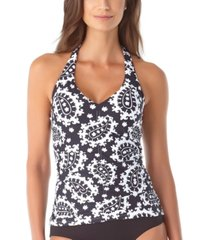 anne cole riviera paisley shirred halter-neck tankini top women's swimsuit