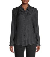 david lerner women's portman tonal leopard-print shirt - black - size xs
