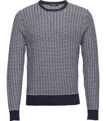 chester-structure knit gebreide trui met ronde kraag blauw j. lindeberg