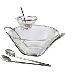 saladeira rojemac de inox com talheres e molheira nápoles prata