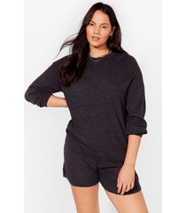 womens bed head sweatshirt and shorts plus lounge set - charcoal