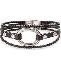 jack titanium & faux leather loop bracelet