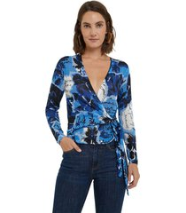 blusa azul-blanco-negro desigual