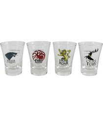 conjunto de 4 copos shot 60 ml game of thrones - conjunto de 4 copos shot em vidro 60 ml game of thrones