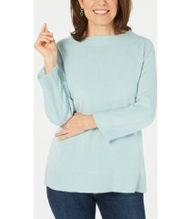 karen scott bateau-neck long-sleeve sweater, created for macy's