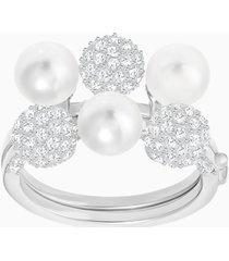 anello doppio fundamental, bianco, placcatura rodio