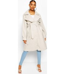 maternity wrap pocket front coat, light grey