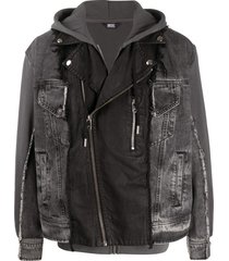 diesel patchwork jacket with sleeveless hoodie - black