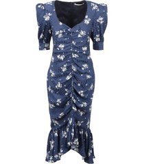 alessandra rich printed silk draped dress