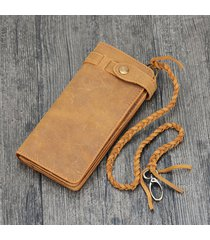 high quality crazy horse leather mens long biker wallet with chain bifold wallet