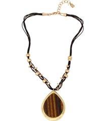 robert lee morris soho tiger eye pendant leather necklace