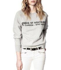 women's zadig & voltaire women's graphic fleece sweatshirt, size medium - grey