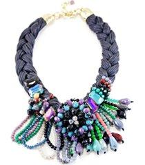 collar trenzado flor con cristales multicolor almacen de paris