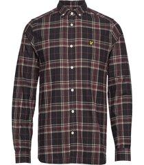 check flannel shirt skjorta casual svart lyle & scott