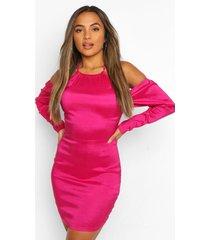 petite halternek taffeta jurk met volle mouwen, hot pink
