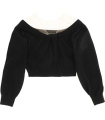 alexander wang cropped sweater with tulle