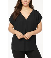 inc plus size mixed-media dolman-sleeve top, created for macy's