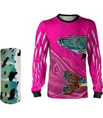 camisa + máscara pesca quisty pintado moleque rosa proteção uv dryfit infantil/adulto - camiseta de pesca quisty