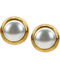 patricia nash gold-tone imitation pearl stud earrings
