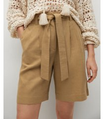 mango linen bow bermuda shorts