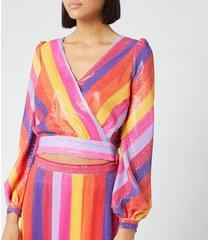 olivia rubin women's kendall top - rainbow stripe - uk 14