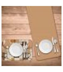 jogo americano com caminho de mesa wevans café master kit com 2 pçs + 2 trilhos