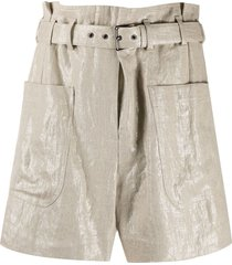 brunello cucinelli belted high-rise shorts - gold