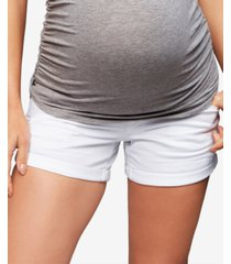 a pea in the pod maternity cuffed-hem shorts
