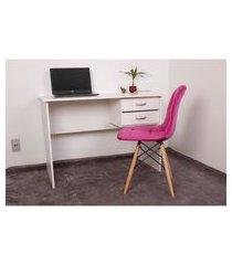 kit escrivaninha com gaveteiro branca + 01 cadeira botonê veludo - rosa