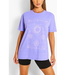 celestial print washed t-shirt, blue