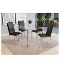 conjunto mesa reno c/ 4 cadeiras amsterdá cromado/preto kappesberg