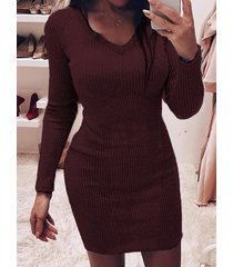 tejido cuello de pico manga larga mini vestido